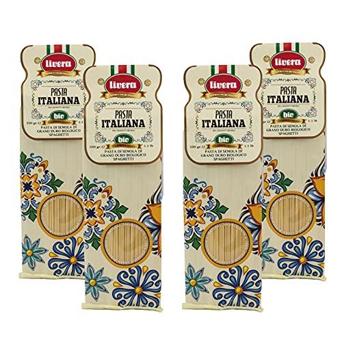 Livera Spaghetti Bio 4 X 500 Gr, Pasta Largas BIO de Sémola de Trigo Duro Bio 100% Made in Italy, Spaghetti Elaborada en Bronce, Empaque de Pasta Seca, Cocina 12'