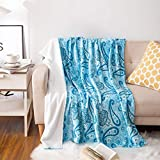 UYIS Throws Blankets for Sofa, 50' 60' Extra Soft Paisley Blue Creative Flannel Blanket Lightweight Blanket Cozy Plush Fleece Microfiber Double Sided Blanket for Couch Bed Adult and Kids