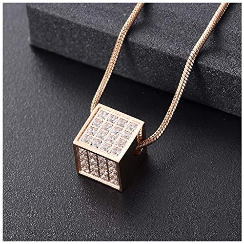Wxcvz Joyas De Cremación Mini Collar con Colgante De Urna De Cremación De Cubos para Joyas De Recuerdo De Cenizas De Un Amado
