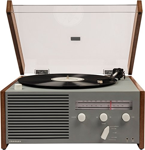 Crosley Otto Belt-Drive Turntable with Bluetooth, Am/FM Radio, Aux-in, and Built-in Speaker, Natural, Model:CR6033A-GY