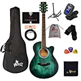 WINZZ HAND RUBBED Series - 40 Inches Cutaway Acoustic Guitar Beginner Starter Bundle with Online Lessons, Padded Bag, Stand, Tuner, Pickup, Strap, Picks, Dark Hunter Green