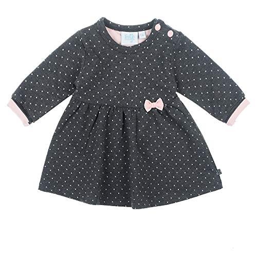 Feetje Baby-Mädchen Kleid Langarm mit Punkte-Allover, Anthrazit Melange, 62