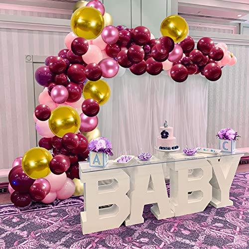 Skyiol - Guirnalda de globos (90 unidades, látex, helio, 4D, con arco de 5 m, pegatinas para mujeres, niñas, cumpleaños, bodas, baby shower, aniversarios, fiestas, decoración