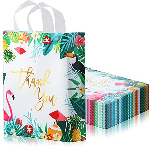 100 Bolsas de Compras de Plástico Bolsas de Thank You con Asas de Círculo Suave para Tiendas Minoristas, Boutiques, Fiesta, Bolsa de Regalo Pequeñas Venta al por Mayor, 12,6 x 11,8 Pulgadas