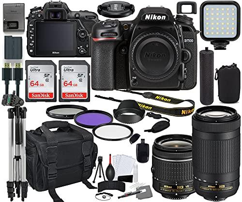 Nikon D7500 DSLR Camera with 18-55mm VR & 70-300mm Lens Bundle + Prime Accessory Kit Including 128GB Memory, Light, Camera Case, Hand Grip & More