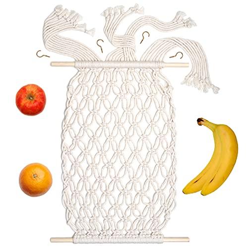 Macrame Fruit Hammock under cabinet - Fruit Hammock, Fruit Basket, Under Cabinet Fruit Storage, Produce Storage, Hanging Fruit Storage, Boho Fruit Hammock