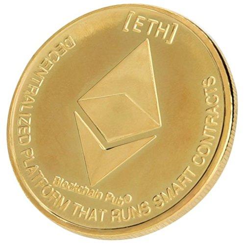 AmaMary Eth Ethereum Coin, Vintage Plateado ondulación Moneda Eth Coin Coleccionable colección de Arte de Regalo Física (1 PCS, Oro)