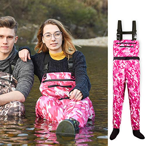 NEYGU Quick-Drain Waterproof and Breathable Chest Wader with 4mm Neoprene Stocking Foot for Fishing and Hunting,Pink Camo XL