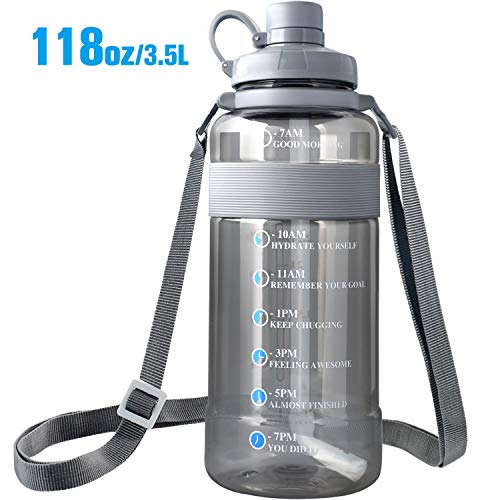 Large Water Bottle with Straw BPA Free, Sports Water Bottle with Strap Portable Motivational Water Bottle with Time Marker Water Bottle Leak Proof Gallon Water Jug Wide Mouth (118oz, grey)