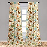 Lunarable Woodland Curtains, Animals of The Woods in Pastel Colors Cheerful Bear Hedgehog Gazelle Fox Ladybug, Window Treatments 2 Panel Set for Living Room Bedroom Decor, 56' x 63', Brown Beige