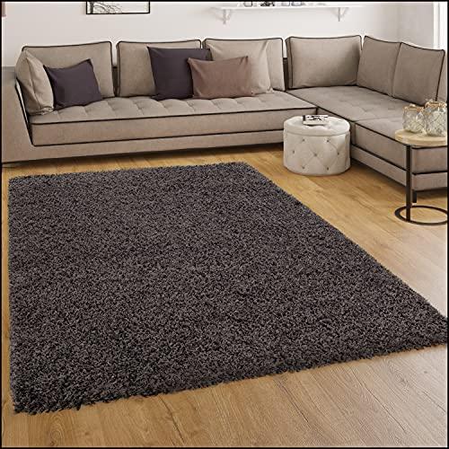 Shaggy Hochflor Langflor Teppich Sky Einfarbig in Anthrazit, Grösse:60x100 cm