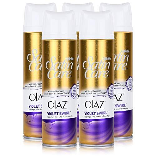 Gillette Venus Satin Care Violet Swirl mit einem Hauch von Olaz Rasiergel 200 ml (5er Pack)