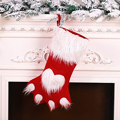 Kerstmis Leuke Huisdier Klauw Kousen Xmas Boom Decoraties Behandel Tas Kerstmis Open Haard Opknoping Stocking Tassen met Haak Xmas Ornament Stocking Sokken voor Candy Gift Xmas Party Decoraties