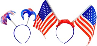 Fourth of July American Flag Headband with Patriotic Independance Day Headband Pack, Set of 2