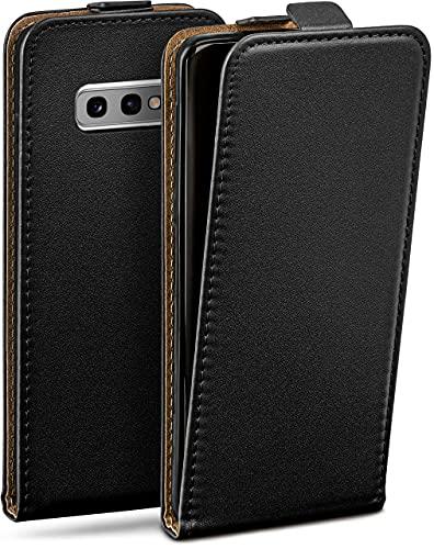 moex Flip Hülle für Samsung Galaxy S10e Hülle klappbar, 360 Grad R&um Komplett-Schutz, Klapphülle aus Vegan Leder, Handytasche mit vertikaler Klappe, magnetisch - Schwarz