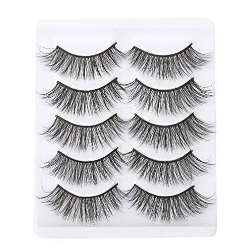 RAIKE 3D Falsche Wimpern Wiederverwendbare lange, 5 Paar Künstliche Natürliche Schwarz dicke Wimpern zur Verlängerung der Make-up-Wimpern