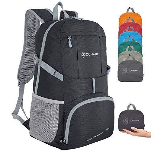 ZOMAKE 35L Ultraleicht Faltbarer Wanderrucksack, Multi-Funktionaler Stopfbarer Wasserdichter Casual Camping Tagesrucksack für Outdoor-Sport Klettern Bergsteiger (Schwarz)