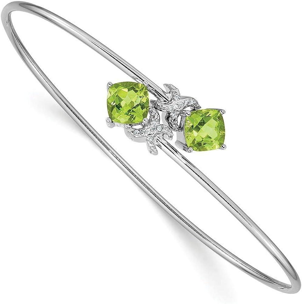 Solid 14k White Gold 0.03ct Diamond and 2.4ct Peridot Green August Gemstone Flexible Bangle Cuff Bracelet 7