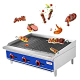 KITMA 36' Natural Gas Radiant Charbroiler - Commercial Countertop Stainless Steel Gas Barbecue Grill with Radiant - Restaurant Barbecue Equipment, 105000 BTU