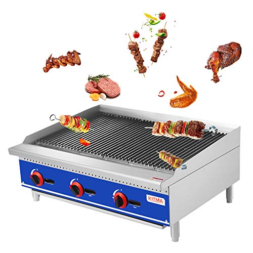 """KITMA 36"""" Natural Gas Radiant Charbroiler - Commercial Countertop Stainless Steel Gas Barbecue Grill with Radiant - Restaurant Barbecue Equipment, 105000 BTU Gas Grills Natural"""