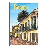 Vintage-Reise-Poster Bogota, Kolumbien, alte Häuser,