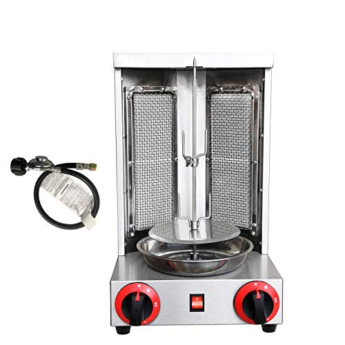 Doner Kebab Machine Liquid Propane Gyro Shawarma Grill Machine Vertical Broiler & Rotisseries For Home Restaurant Use Capacity 11lbs (Silver(LPG))