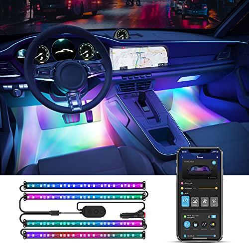 Govee RGBIC Auto LED Streifen, App steuerbare Innenbeleuchtung, 2-Linien-Design, Musik-Modus, Autoladegerät, DIY-Effekte, 64 Szenen-Optionen, Ambientebeleuchtung mit Zigarettenanzünder, 12V