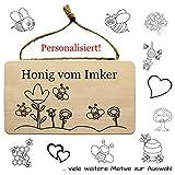 Geschenkissimo Imker Wandschild aus Holz mit individueller Gravur - Schild für Imker Zubehör, Imkereibedarf, Imkerei - mit Kordel zum Aufhängen - Türschild, Holzschild, Wandbrett, Werbeschild