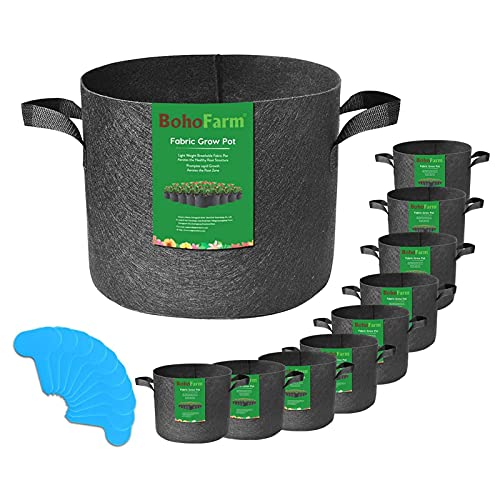 10-Pack 5 Gallon Grow Bags for Potato/Plant Container/Aeration Fabric Pots with Handles (Black)