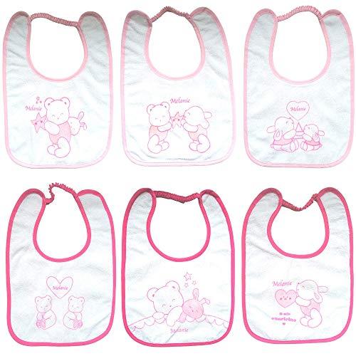 Melanie Bavaglini impermeabili 6 pezzi Pappa Cotone Elastico Grandi per Asilo 20x25 cm (Rosa)