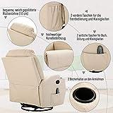 HOMCOM Massagesessel Relaxsessel mit Wärmefunktion Fernsehsessel Sessel Creme - 4