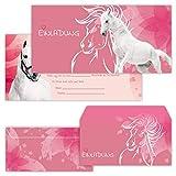 PAPERHELDEN 12 Pferde Einladungskarten mit 12 Umschlägen zum Kindergeburtstag   Pferd Geburtstags-Einladungen zur Mädchen Party für Kinder