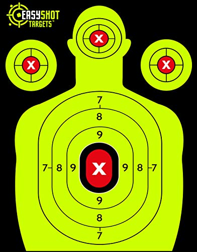 EasyShot 105-PACK Premium Shooting Targets 18 X 12 inch. Shots are Easy to See with Our High-Vis Neon Yellow & Red Colors. Thick Silhouette Paper Sheets for Pistols, Rifles, BB Guns, Airsoft and More