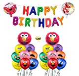 Sesame Inspired Elmo Birthday Party Decorations Supplies Party Favors Sesame Inspired Banner Balloons for Sesame Street Themed Kids Baby Shower Birthday Party Includes 1 PC Banner -16 PCS Latex Balloons - 1 PC Balloons Ribbon - 2 PC Cartoon Balloons.