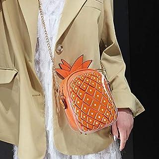 Adebie - Cute Pineapple Female 2019 Summer New Mini Chain Messenger Bag Jelly Clear Designer Shoulder Bag Women Transparent Crossbody Bag Orange []