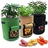 Mengxin 3 Piezas Bolsa Cultivo Plantas Bolsa Siembra con Ventana Asas Macetero Bolsa para Papas Tomates Zanahorias Fresa Flor (3 Piezas)