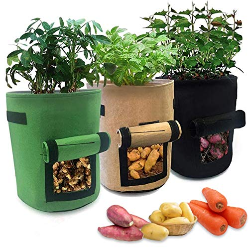 Mengxin 3 Pezzi Sacchetti Coltivazione Patate Sacchi Piante con Finestra Manici Grow Borse per Patate Pomodori Carote Fragola Frutta Verdure Fiori (3 pezzi)
