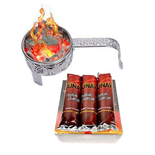 RMAN Carbón para shisha (80 unidades, con cesta de carbón, acero inoxidable, recipiente para carbón para shisha y parrilla, cesta para carbón vegetal con mango de seguridad, accesorios plateados)