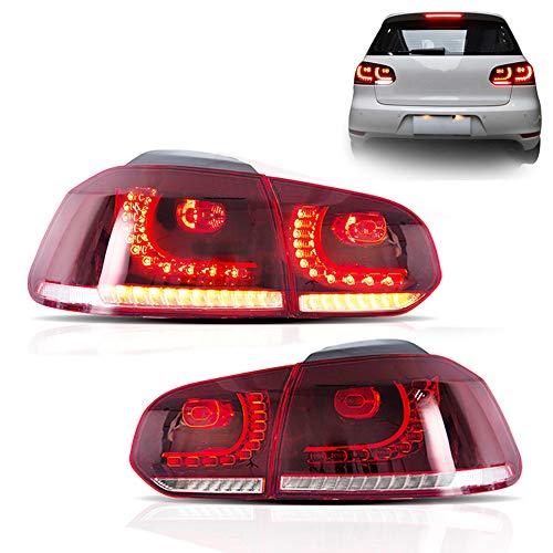 KAIRAY 1 Paar LED Rückleuchten Rücklicht Rücklichter Set für Golf 6 GTI/R 2009-2013 (Rot Weiss und Geräuchert)