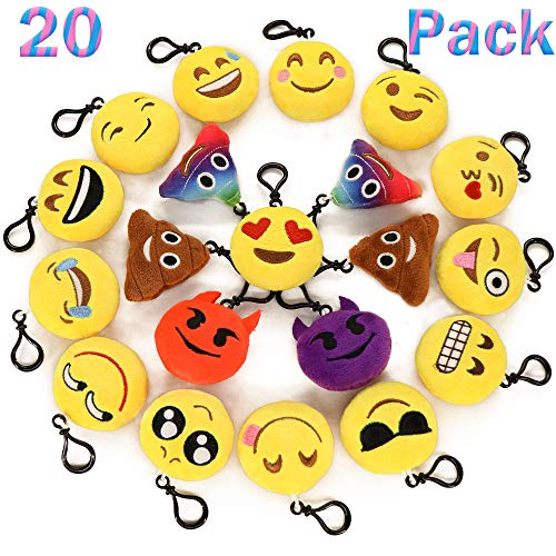 Ivenf Pack of 20 5cm/2' Emoji Poop Plush Keychain Birthday Party Favors Supplies Mini Pillows Set, Emoticon Backpack Clips, Goodie Bag Stuffers Pinata Fillers Novelty Gifts Toys Prizes for Kids
