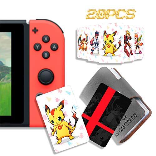 20 Stück NFC Tag Spielkarten für Super Smash Bros. Ultimate (SSBU), kompatibel für Switch/Wii U/3DS XL, mit tragbarem Lederetui