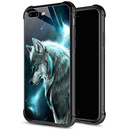 iPhone 8 Plus Case,9H Tempered Glass iPhone 7 Plus Cases for Boys Mens,Blus Galaxy Wolf Cool Pattern Design Shockproof Anti-Scratch Case for Apple iPhone 7/8 Plus 5.5 inch Galaxy Wolf