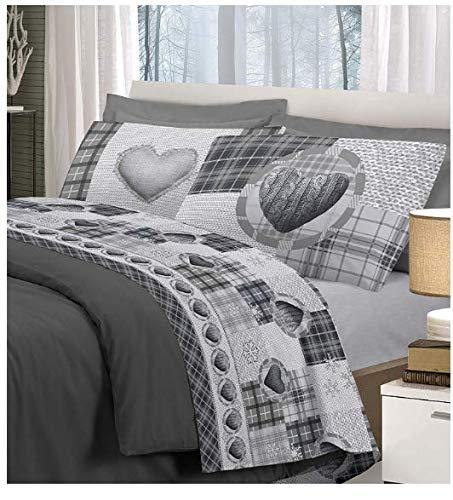 Smartsupershop Parure de lit pour lit 2 places en laine tressée, flocon de neige, couleur grise, avec bonnets, couleur unie en coton