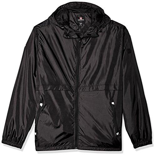 Southpole Men's Water Resistance Hooded Windbreaker Jacket, Black, Medium