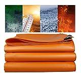 3×4mのオレンジ色の頑丈なPVC防水および耐火性防水シート500g / m2、グロメットと強化エッジ付きの防水シート、船、倉庫、RV、厚さ6000Dに使用