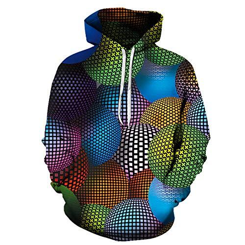 ASHGNV Patrón de Bola de Color Virtual Impresión Digital 3D Sudadera con Capucha Unisex HD Pullover Sudadera Ligera Conjunto de Pareja de bolsillo-6XL
