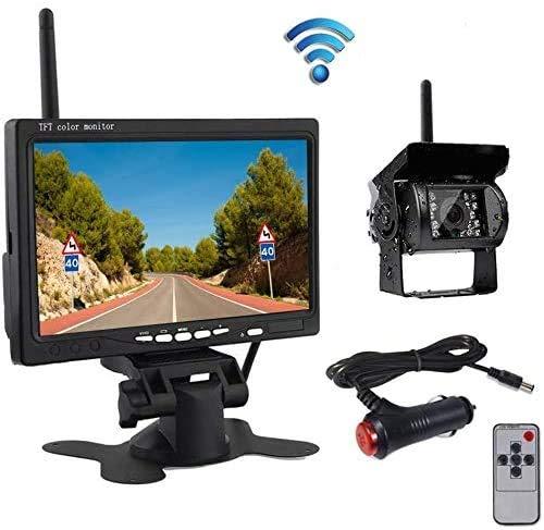OiLiehu Caméra de Recul sans Fil Kit Système, IP68 Étanche Vision Nocturne Caméra de Recul + 7' Moniteur pour RV Remorques de Camions