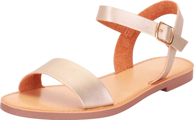 Cambridge Select Women's Classic Open Toe Buckled Strap Flat Sandal