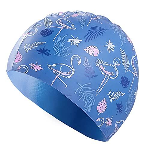 Lovimoon Frauen Badekappe, Silikon Frauen Badehüte für langes Haar, PU wasserdichte Badekappe, Gehörschutz Elastische Badekappe mit Beschichtung Flamingo Muster für Damen und Mädchen
