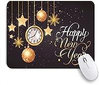 KAPANOU マウスパッド、明けましておめでとうございます2020クリスマスボールスタースノーフレークタイムクロックカーニバルパーティー おしゃれ 耐久性が良い 滑り止めゴム底 ゲーミングなど適用 マウス 用ノートブックコンピュータマウスマット